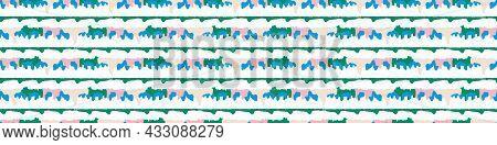 Playful Fresh Doodle Stripe Shape Seamless Border. Modern Trendy Minimal Retro Style Motif Edging Tr