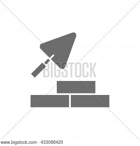Bricks With Building Trowel, Brickwork Grey Icon.