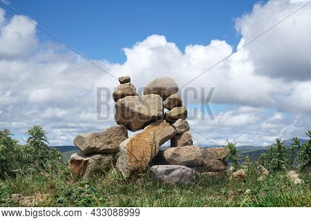 A Cairn. A Pile Of Cobblestones. Stone Tower