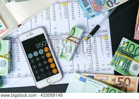 Kiev, Ukraine - May, 2021. Millennial Candid Authentic Female Hands Counting Money Euros. Businesswo