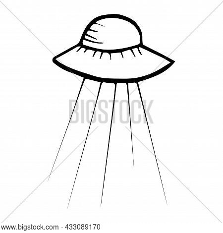 Ufo Icon, Handdrawn Outline Ink Style Flying Saucer Logo Isolated On White Background