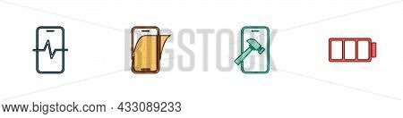 Set Phone Repair Service, Glass Screen Protector, Mobile With Broken And Battery Icon. Vector