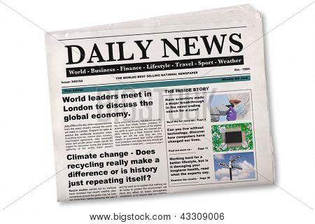 Mock up de um jornal diário em um fundo branco. O nome, título, manchetes e histórias são todas as f