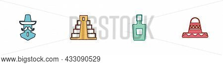 Set Mexican Man Sombrero, Chichen Itza In Mayan, Tequila Bottle And Icon. Vector