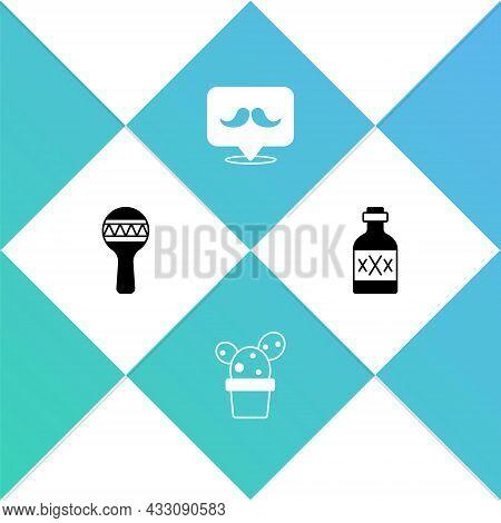 Set Maracas, Cactus Or Succulent In Pot, Mustache And Tequila Bottle Icon. Vector
