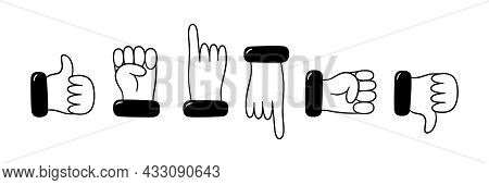 Set Of Hand And Finger Gestures. Hand Dtawn Like, Dislike, Fist, Point With Your Finger. Vector Illu