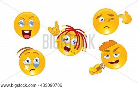 Cartoon Icons Of Smiling Faces In Various Characters. Icons Of A Smile Face Rapper, Singer, Beaten,