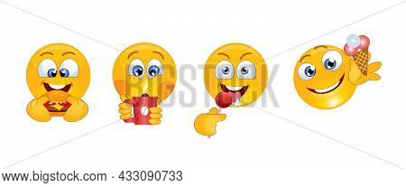 Cartoon Icons Of Smiling Faces In Various Characters. Icons Of A Smile Face With Food. Smile With A