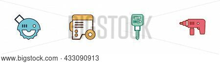 Set Electric Circular Saw, Power Electric Generator, Construction Jackhammer And Drill Machine Icon.