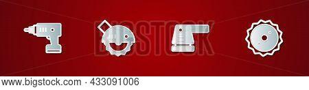 Set Electric Cordless Screwdriver, Circular Saw, Sander And Circular Blade Icon. Vector