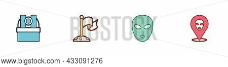Set Astronomical Observatory, Moon With Flag, Alien And Icon. Vector