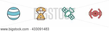 Set Planet, Space Capsule, Satellite And Cosmic Ship Icon. Vector