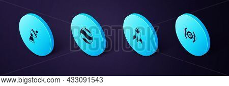 Set Isometric Cosmic Ship, Rocket, Planet And Satellite Dish Icon. Vector