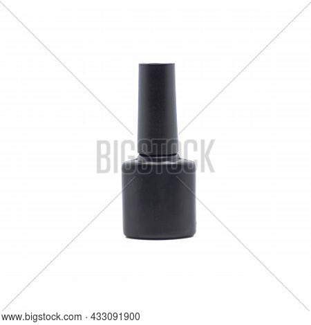 Black Bottle Of Gel Nail Polish Isolated On White Background, Image For Advertising Nail Polishes