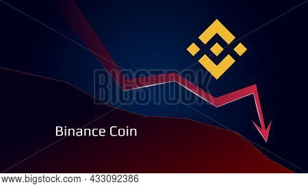 Binance Coin Bnb In Downtrend And Price Falls Down. Crypto Coin Symbol And Red Down Arrow. Uniswap C