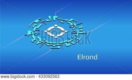 Elrond Egld Isometric Token Symbol In Digital Circle On Blue Background. Cryptocurrency Coin Icon Fo