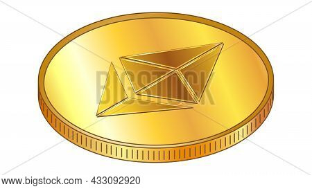 Gold Coin Ethereum Eth In Isometric Top View Isolated On White. Vector Design Element.