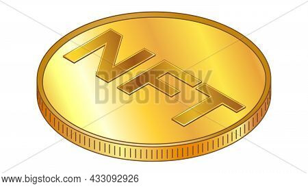 Gold Coin Nft Non Fungible Token In Isometric Top View Isolated On White. Vector Design Element.