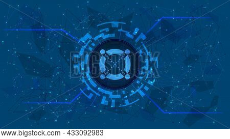 Elrond Egld Token Symbol In Digital Circle With Futuristic Cryptocurrency Theme On Blue Background.