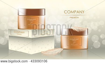 Realistic Cream Jars With Feathers, Banner With Copy Space For Cosmetology And Skincare On Glare Bac