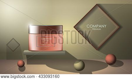 Realistic Cream Jar With Balls On Floor And Frames On Wall In 3d Style, Banner With Copy Space For C