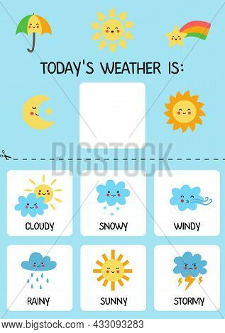 Today Weather Is. Template For Kids. Weather Chart. Learning Days Of Week.