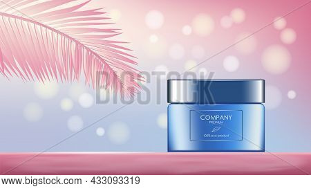 Realistic Cream Jar With Palm Leaf And Glares, Banner With Copy Space For Cosmetology And Skincare I