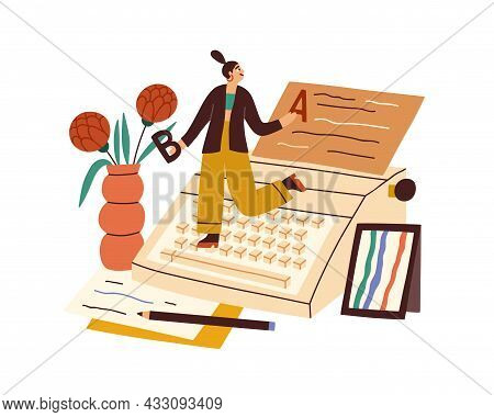 Writer Writing Book With Typewriter And Papers. Happy Creative Author Creating Literature. Work Proc