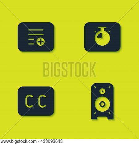 Set Add To Playlist, Stereo Speaker, Subtitles And Stopwatch Icon. Vector