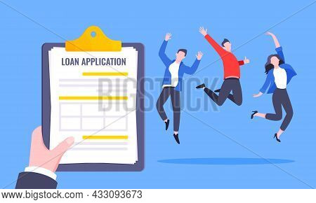 Hand Holds Clipboard With Loan Approval Application Paper Sheets Document. Mortgage Or Credit Form W