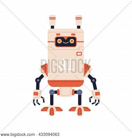 Cute Happy Robot In Old Retro Style. Funny Childish Bot Toy With Smiling Friendly Face. Kids Humanoi