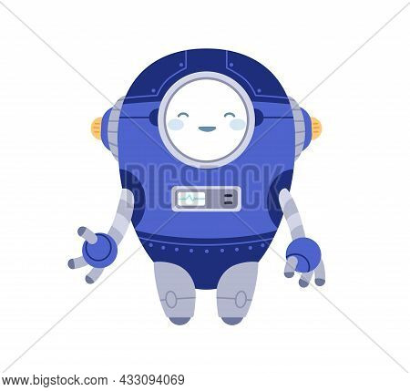 Cute Funny Robot Smiling. Childish Bot Toy With Happy Face. Adorable Little Humanoid Cyborg Machine.
