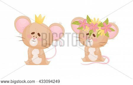 Cute Mouse Character As Small Rodent Sitting With Crown And Floral Wreath On Its Head Vector Set