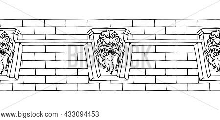 Horizontal Seamless Pattern, Old Brick Wall With Decorative Ornament, Lion Head, For Frame Or Border
