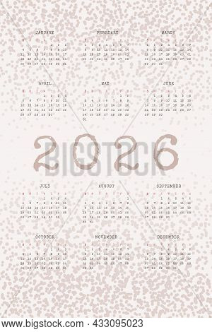 2026 Calendar With Typewritten Text And Textured Noise Dots. Dusty Color Vertical Annual Template Fo