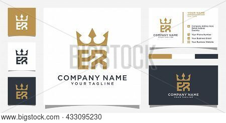Initial Letter Er Or Re Logo Design With Crown Icon Vector With Business Card Design.