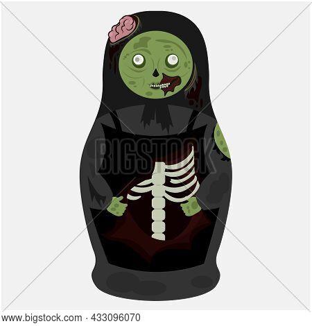 A Zombie Matryoshka Doll. Vector Illustration For The Halloween Holiday.