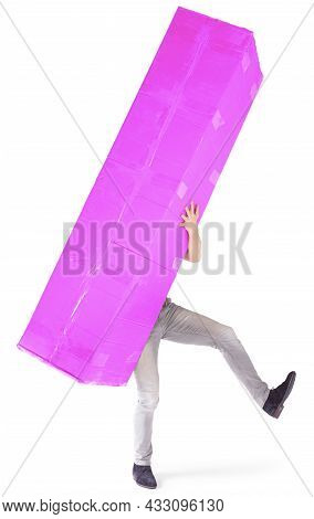 Man Carrying A Oversized Pink Cardboard Box, Isolated On White