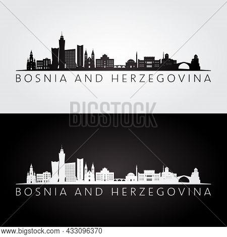 Bosnia And Herzegovina Skyline And Landmarks Silhouette, Black And White Design, Vector Illustration