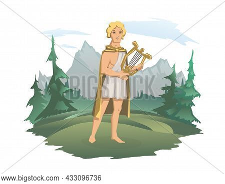 Apollo, Ancient Greek God Of Archery, Music, Poetry And The Sun With Lyre. Ancient Greece Mythology.