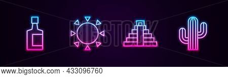 Set Line Tequila Bottle, Sun, Chichen Itza In Mayan And Cactus. Glowing Neon Icon. Vector