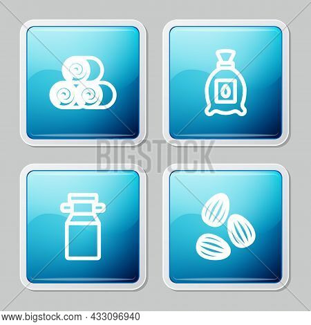 Set Line Roll Of Hay, Pack Full Seeds Plant, Can Container For Milk And Seeds Icon. Vector