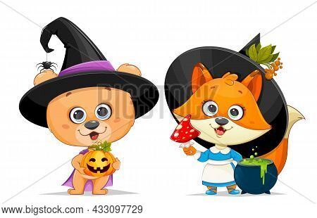 Happy Halloween Greeting Card. Cute Little Bear In Witch Hat Holding Jack O Lantern And Funny Foxy W