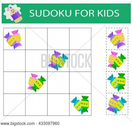 Sudoku For Kids. Logical Thinking Training. Activity Page With Pictures. Puzzle Game.