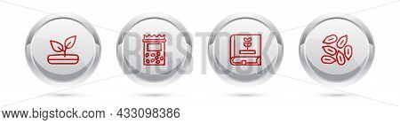 Set Line Sprout, Pack Full Of Seeds Of Plant, Book About And Seed. Silver Circle Button. Vector