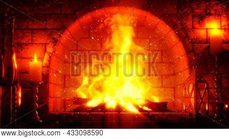 Fairy Tale Masonry Chimney Fire Shining , Cgi Object 3d Illustration