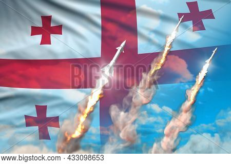 Modern Strategic Rocket Forces Concept On Blue Sky Background, Georgia Supersonic Warhead Attack - M