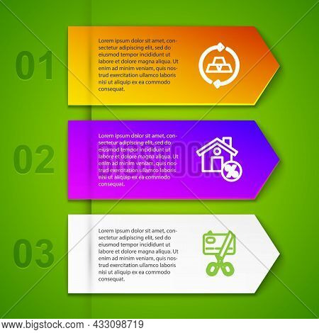 Set Line Gold Bars, House With Percant Discount And Scissors Cutting Credit Card. Business Infograph