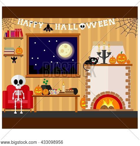 Vector Illustration Of Living Room With Table And Fireplace Decorated For Halloween Party.