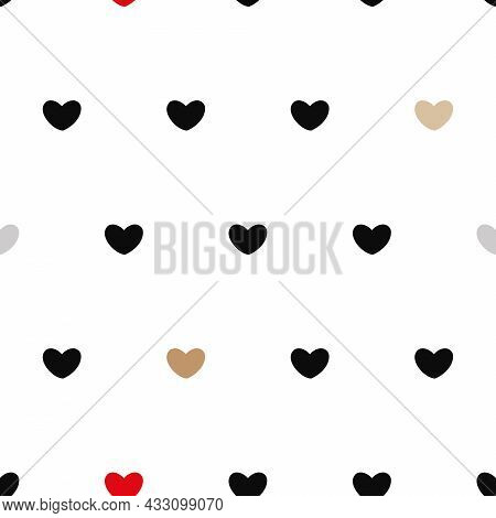 Vector Cute Hearts In Chic Colors On White Seamless Pattern Background. Perfect For Web Design Fabri
